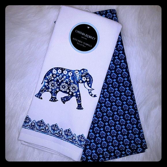 Cynthia Rowley Set Of Elephant Kitchen Towels